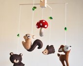 Hanging Whimsical Woodland Creatures Mobile - Deer, Bear, Squirrel, Porcupine, and Mushroom - As featured in NORWAYS GRAVID MAGAZINE