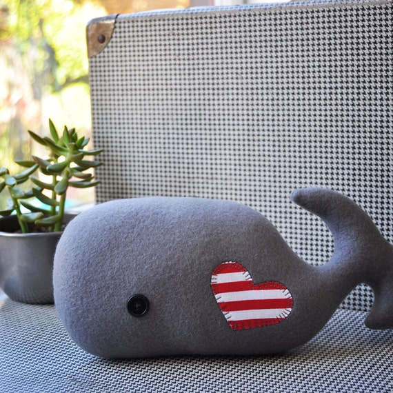 Whimsical Gray Plush Whale