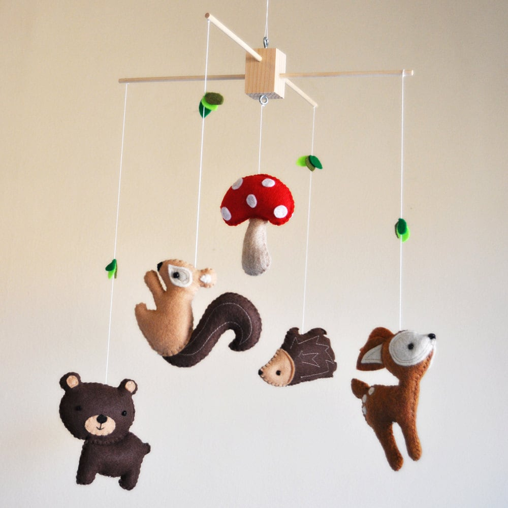 Hanging Whimsical Woodland Creatures Mobile Deer Bear