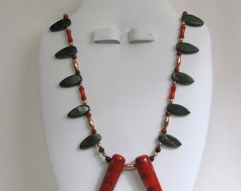 Hot Pepper Coral and Serpentine Copper Necklace RKM203