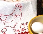 Retro Mother Hen and Chicks - Handmade Embroidered Cotton Kitchen Towel - Redwork
