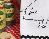 Lucky Pig - Embroidered Cotton Kitchen Towel - Blackwork