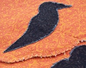 Fall Pumpkin Crow Quilted Placemats (set of 2 quilted place mats) Pumpkin Orange Placemat Set with Crow Appliques - ThePrairieCottage