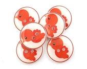 Bird Buttons. 6 Handmade Buttons. Orange Bird Sewing Buttons.