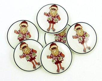Tropical Christmas Buttons. Santa Claus Handmade Buttons. 6 knitting or sewing buttons.