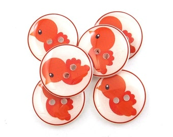Bird Buttons. 6 Handmade Buttons. Orange Bird Sewing Buttons.