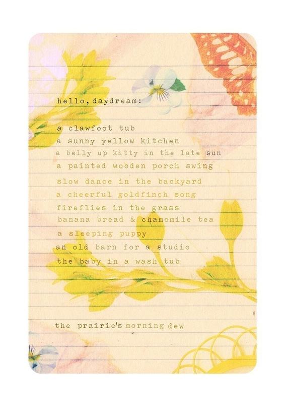 Daydream List paper Print | Inspirational Wall Art | Mixed Media Art | Hand Lettering | Floral | Katie Daisy