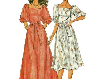 Butterick 4275 1980s Misses Fast and Easy Dress Pattern Square Neck 2 Lengths Womens Vintage Sewing Pattern Size 6 8 10 Bust 3031 32  UNCUT