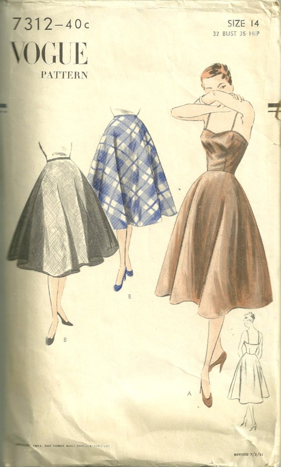 Vogue 7312 1950s Misses LINGERIE Pattern  Flared Full Slip and Petticoat Pattern Womens Vintage Sewing Pattern Size 14 Bust 32