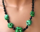 Necklace Turquoise & Black Crystal Beads 'Kryptonite' SALE 55% off