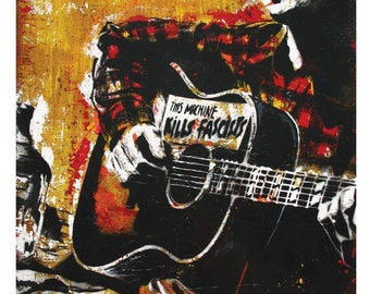 """12"""" x 18"""" Print - Woody Guthrie Art Print Poster - Folk Music Oklahoma Protest Music Dust Bowl Great Depression"""