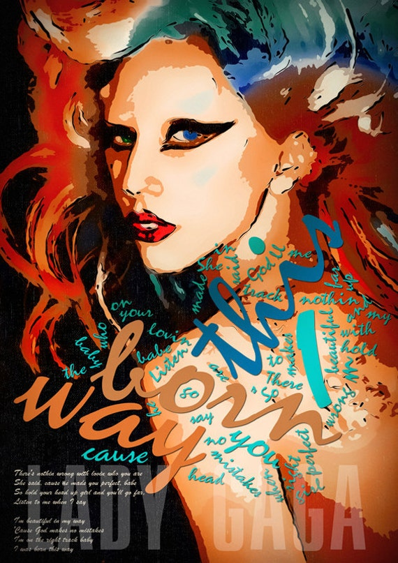 Print Lady Gaga poster illustration portrait  pop Birthday Gift art wall decor music poster red yellow blue celebrity singer giclee