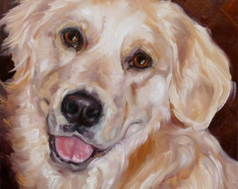 """GoldenGoldens, custom Pet Portrait Painting in Oils by puci, 8x8"""""""