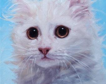 "Cutest Kittens, custom Pet Portrait Oil Painting by puci, 8x8"""