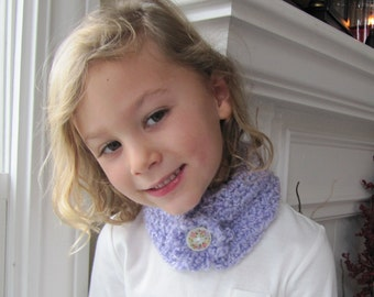 Lavender Neck Warmer, Floral Button, Toddlers Crochet Scarf, Crochet Neck Wrap, Little Girl's Scarf, One Size fits most girls 2T to 8 years