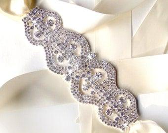 Rhinestone Encrusted Bridal Belt Sash - Custom Ivory or White Satin Ribbon - Silver and Crystal Extra Wide Wedding Dress Belt