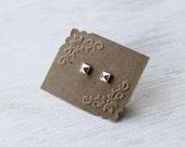 Mini Pyramid Stud post Earrings in Sterling Silver