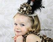 Baby Mini Top Hat Fascinator - Leopard Baby Flower Headband Hat - Toddler/Girl Animal Print Top Hat - Animal Print Pageant Photo Prop