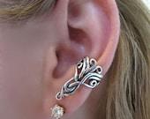 Silver Ear Cuff Arabesque Ear Cuff Celtic Ear Cuff Celtic Jewelry Non-Pierced Earring Swirl Ear Cuff Swirl Jewelry Victorian Gift for her