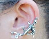 Dragon Ear Cuff Silver - Dragon Ear Wrap - Dragon Earring - Dragon Jewelry -  Dragon Climber Ear Cuff - Silver Dragon Non Pierced Ear Cuff