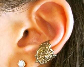 Spiderweb Ear Cuff Bronze - Cobweb Ear Cuff - Spider Ear Cuff - Spiderweb Jewelry - Spiderweb Earring - Gothic Jewelry - Punk Jewelry