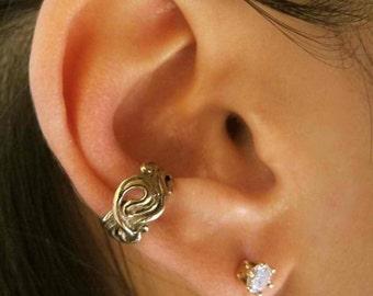 Ear Cuff Bronze - Swirl Ear Cuff - Nouveau Swirl Ear Cuff - Swirl Jewelry - Swirl Earring - Spiral Earring Non Pierced Earring - Bronze Cuff