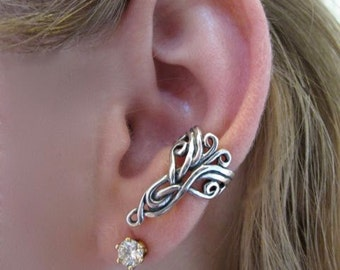 Silver Ear Cuff Arabesque Ear Cuff Celtic Ear Cuff Celtic Jewelry Non-Pierced Earring Swirl Ear Cuff Swirl Jewelry Victorian Gift for her