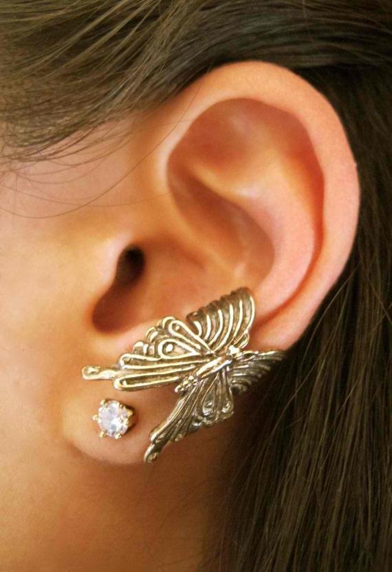 Ear Cuff Butterfly Bronze - Butterfly Earring Butterfly Jewelry - Insect Jewelry - Non Pierced Earring Non Pierced Ear Cuff Wing Earring