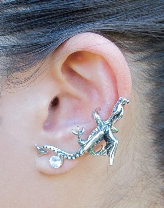 Dragon Ear Cuff Silver Dragon Ear Wrap Dragon Earring