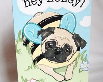 Pug Honeybee Greeting Card