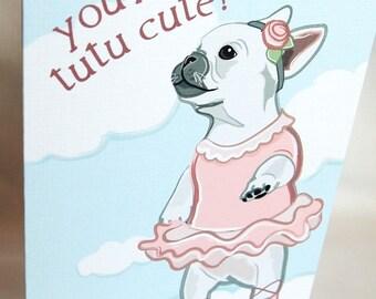 French Bulldog Ballerina Greeting Card