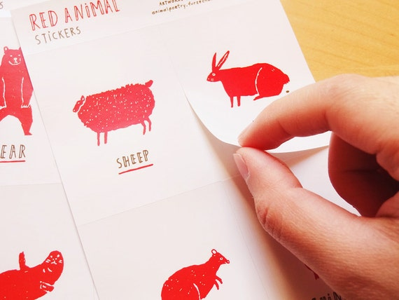 Red Animal Stickers (Set of 3 sheets)