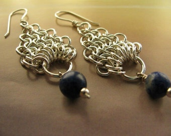 Blue Lapis Lazuli Sterling Silver Earrings, Handmade Long Dangle Chainmaille Earrings, Blue and Silver