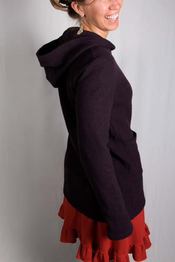 SALE - Merino Wool Market Jacket - Eggplant - X-Large