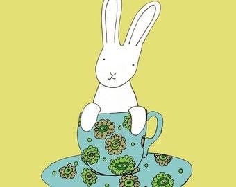 Bunny in a teacup-print