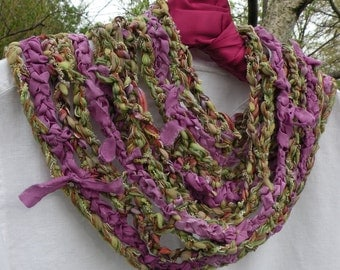 Crochet scarf for women: Violets in the Woods multicolor silk long skinny fashion knit scarflette, green purple  i746