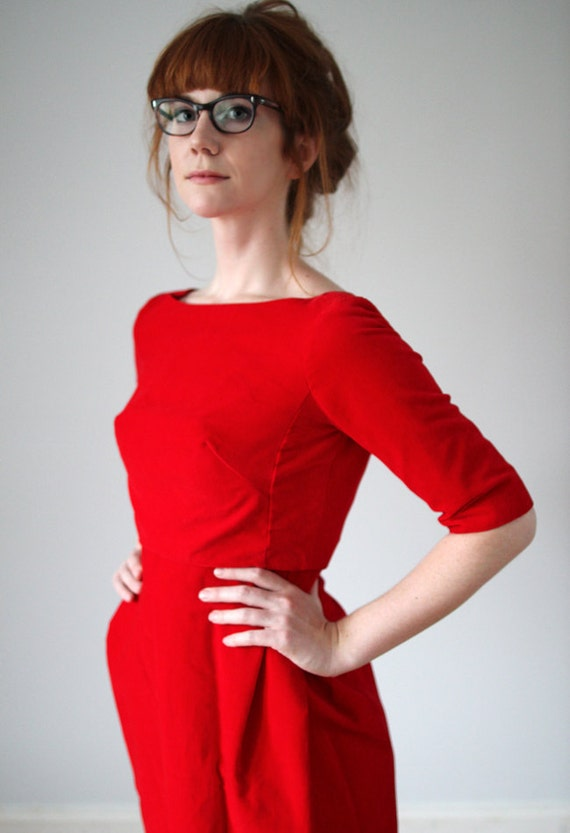 RESERVED for Ashley - Stunning 1960s Red Velvet Holiday Cocktail Dress and Overcoat
