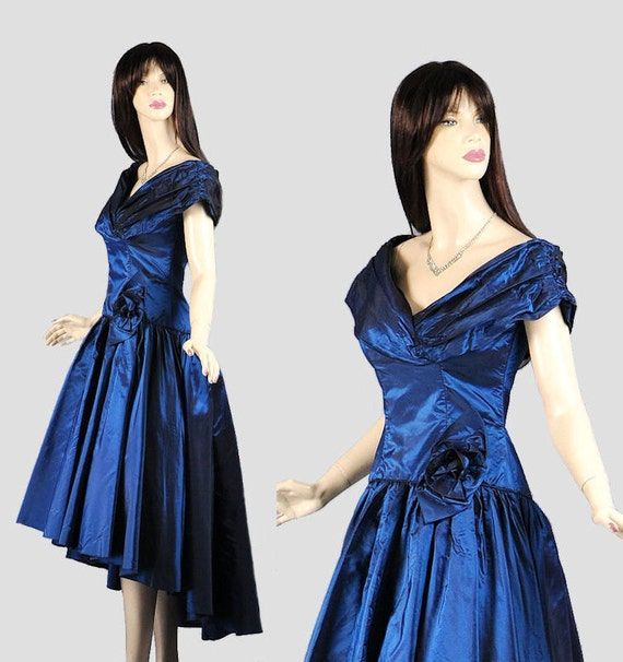 Vintage 1980s Party Dress XS S  - Iridescent Sapphire Blue Taffeta Prom Gown