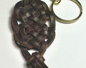 Celtic Celebration Spanish Leather Keyring -- Keychain Key Ring
