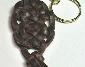 Celtic Celebration Spanish Leather Keyring -- Keychain Key Ring
