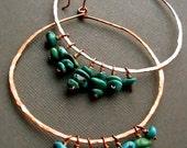 Copper Hoop Earrings - Turquoise Handmade / Large