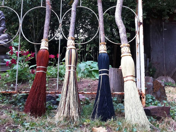 Witch's Besom in your choice of Natural, Black, Rust or Mixed Broomcorn