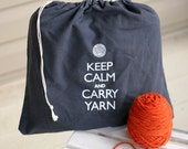 Large knitting project bag - Keep Calm and Carry Yarn - Steel wool gray