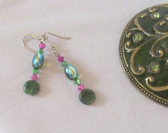 LUSH - Green & Magenta Purple Dangle Earrings