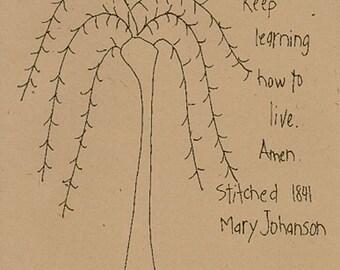 Primitive Stitchery Pattern Folk Art Sampler Keep Learning Tree Bird