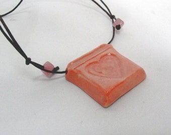 Ceramic Pink Heart Porcelain Pendant