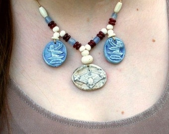 Scarab Isis Necklace Ceramic Stone and Bone