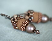 Unique Hoop Brown and Copper Earrings with Handmade Felt and Pearls - Real Statement Gift under 75 USD