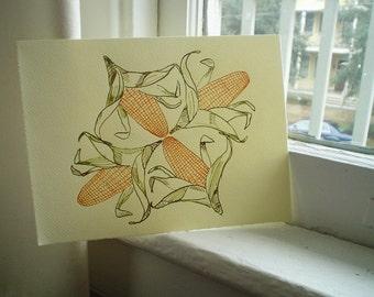 Corn Illustration, Farmhouse Decor, Farm Decor, Food Art, Kitchen Art, Pen and Ink Drawing, Small Art, Corn on the Cob, Country Decor, 6 x 8