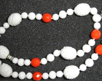 Vintage Judith McCann Designs Red and White Glass Necklace with Rhinestone Clasp